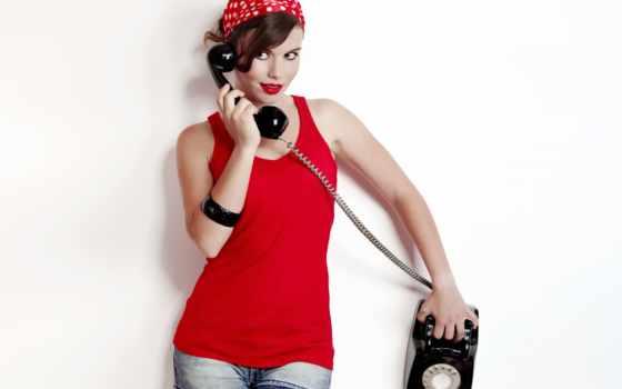телефон, девушка, red, pin, современный, яркий, красивый, charming, коллекция, ретро, julius