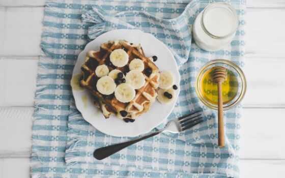 fork, черника, завтрак, вафельный, еда, ягода, собрать, milk, fonwall, овсянка, качественные