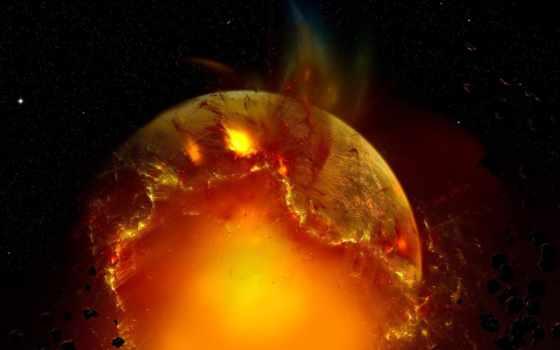 planet, exploding, desktop