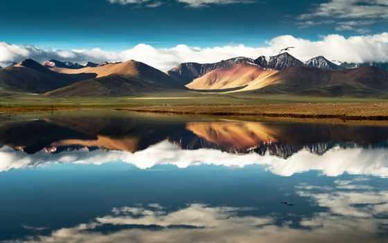 tibet, горы, oblaka, китаянка, небо, широкоформатные, china, озеро, полет, птица,