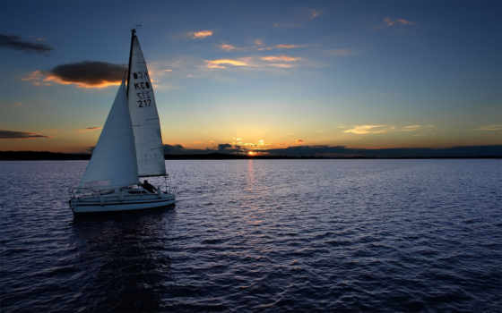 парусная, яхта, красивая, закате, яхты, яхтой, дня,