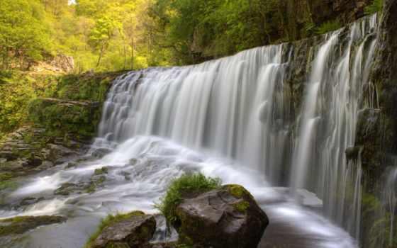 wales, водопад, ystradfellte, south, isaf, sgwd, neath, clun, gwyn, landscape,