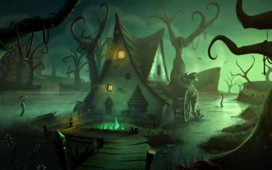 halloween, креатив, haunted, desktop, full, images,