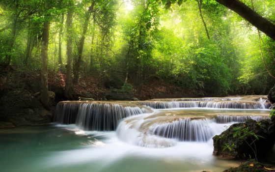 водопад, landscape, природа, водопады, водопадом, озера, пейзажи -, море, reki,