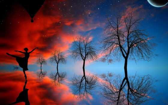 небо, звездное, oblaka, девушка, dance, trees, красивые, отражение, страница, aerial,