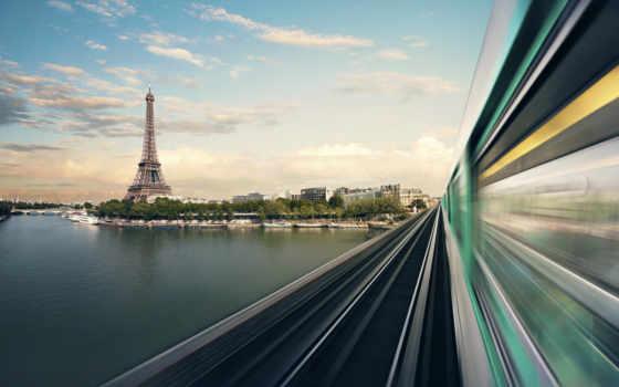 поезда, башни, эйфелевой
