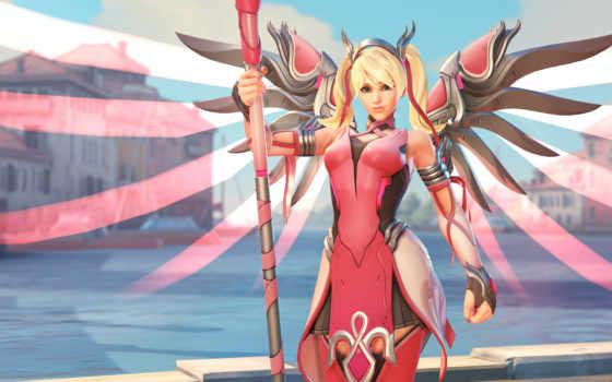 overwatch, mercy, ангела, tape, розовая, new, смотреть,