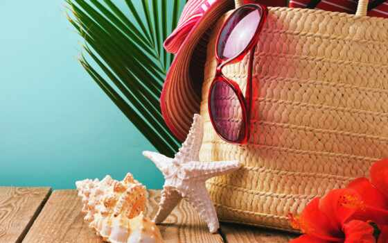 seashell, шляпа, summer, point, пляж, мешок, star, песок