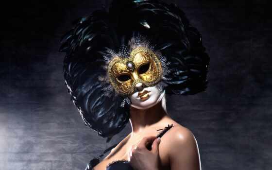маска, девушка, masquerade, перо, venice, carnival, глаза, gold, predstavlyat, женщина