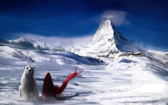 снег, горы, art
