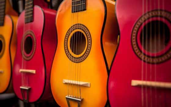 гитара, гитары, акустическая, музыка, цветные, инструмент,