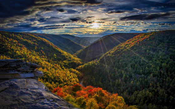 горы, sun, лес, осень, река, rays,
