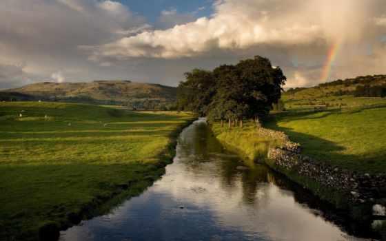 природа, landscape, небо, oblaka, холмы, деревя, поля, река,