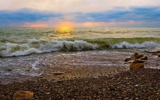 waves, камни, красивые, море, коллекция, небо, разрешений, качественные,