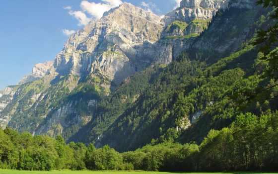 горы, лес, oblaka, небо, луг, height, greatness, хвойный, лесом, зелёный,