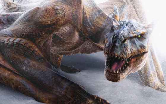 девушка, fantasy, динозавры, фантастика, тематика, одноглазики, дракон,