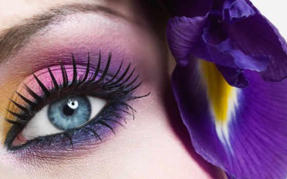 глаз, цветы, макияж, зрачок, свет, ресницы, девушка, blue, голубых, радуга,