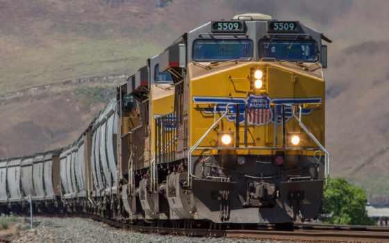 поезд, локомотив, железная, дорога, рельсы, вагоны, картинка,
