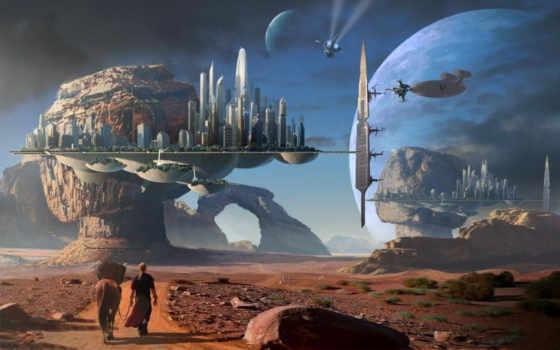 фантастика, путник, фантастические, дорога, совершенно, категория, фоны, город, ray, свет,