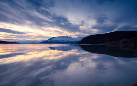 озеро, небо, гора, природа, clouds, trees, lakes, landscape, british,