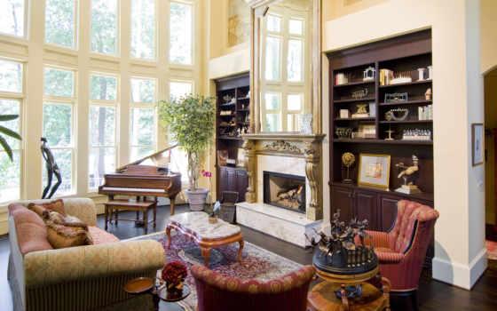 камин, комната, интерьер, диван, кресла, гостинная, подушки,