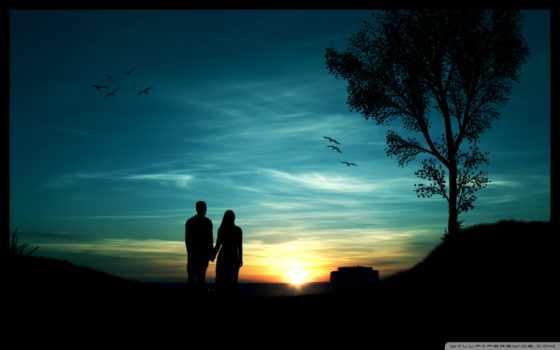 он и она, силуэт, закат, дерево, птицы, небо