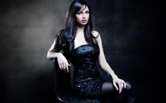 платье, девушка, стуле, сидит, чёрное, волосы, черном, devushki, макияж, женщина, молодая,