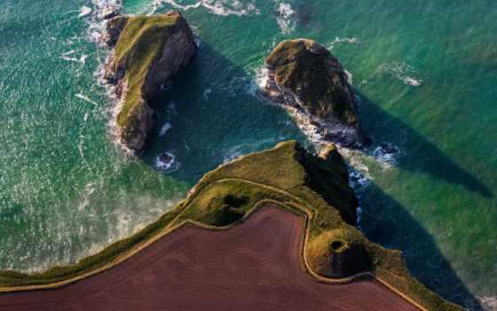 взгляд, море, дорога, поле, остров, rocks, top, картинка,