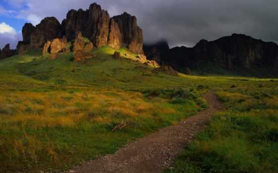 sendero, тропинка, montaña, гора, fondos, hierba, pantalla,