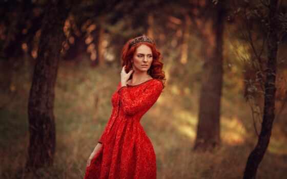 девушка, red, платье, fond, модель, волосы, глаз, tenue, ворона, rouge