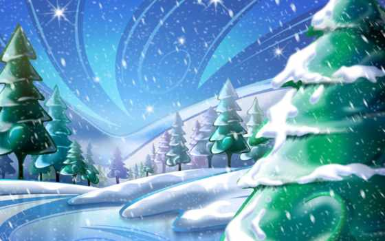 год, новый, снег, елка, рисунок, лесу, рік, новий,