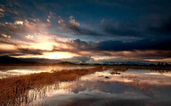 озеро, облака