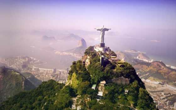 статуя, христа, rio, sculpture, холмы, hills, город, brazil, де, жанейро, redeemer, christ, jesus, искупителя,