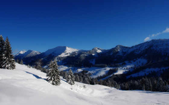 горы, гора, заснеженные