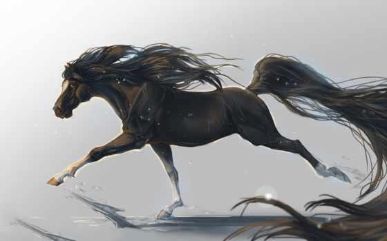 art, лошадь, кон, копыта, животное,