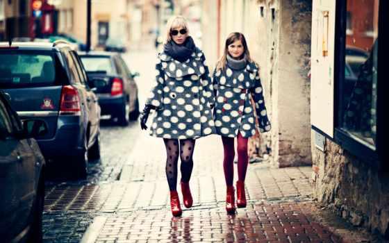 мама, одежда, дочь, fashion, улица, девушка, город,