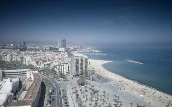 барселона, картинка, море, город, дороги, пляж, пальмы, испания, порт,