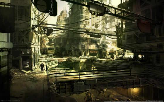 развалины, город