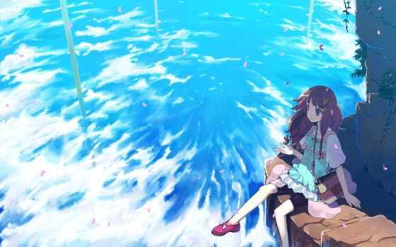 аниме, небо, ветер
