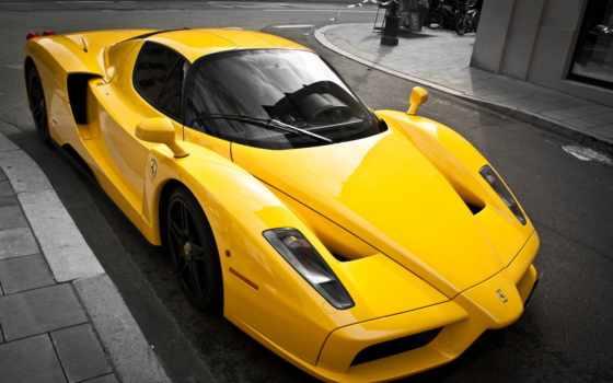 ferrari, yellow, суперкар