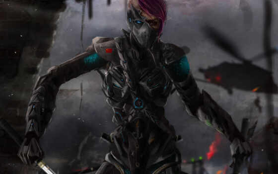 robot, art, киборг, металл, меч, девушка, ветролет,