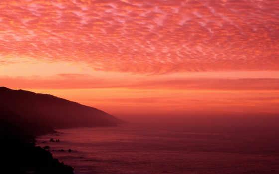 облака, небо, Море, рассвет, океан, закат, горизонт