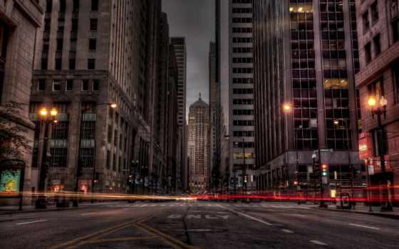 chicago, ночь, город, здания, огни, дорога, hdr,