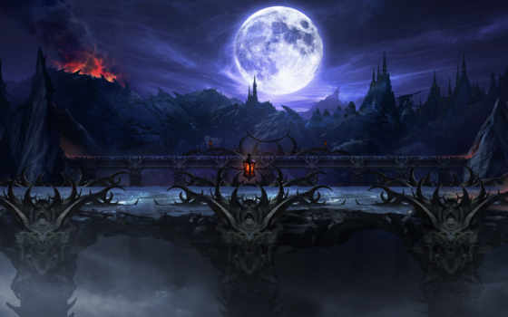 mortal, kombat, пит, castle, мост, ночь, скалы, кб, art, landscape,