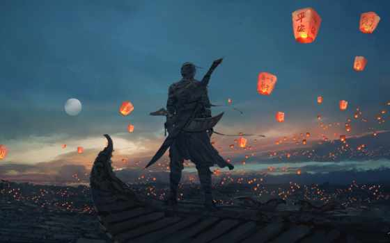 wlop, небо, lanterns, deviantart, art, меч, луна, fantasy, am, lantern, digital,