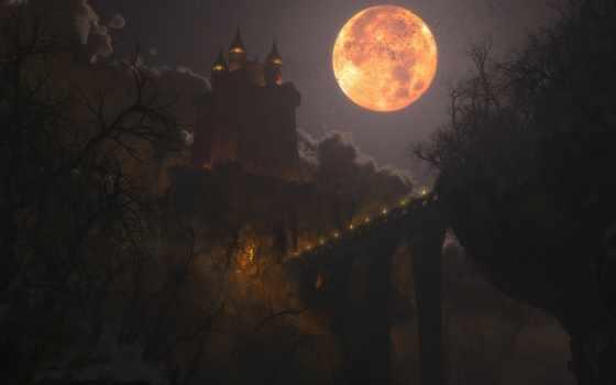 луна, ночь, pinterest, pin, castle, halloween, pictures,