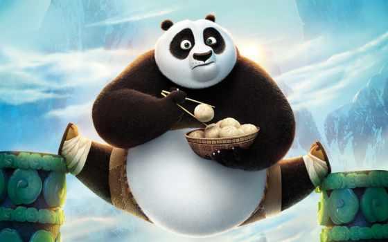 , Кунг-фу , панда, cartoon, шпагат, еда,
