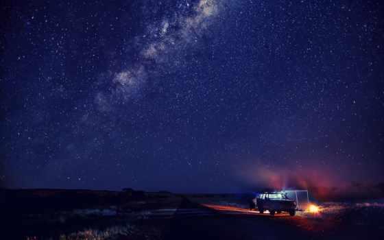 ночь, звезды, winter, снег, небо, car,