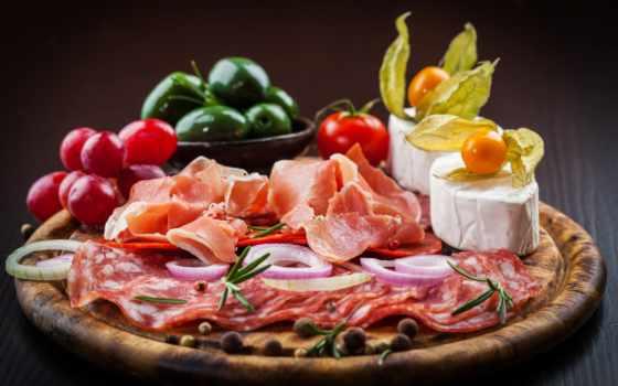 колбаса, сыры, ветчина, производить, натюрморт, колбасы, диета, майки, картины,