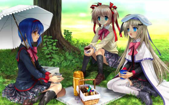 anime, devushki, puzzle, online, три,